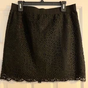 Joe Fresh Black Eyelash Lace Pencil Skirt 8